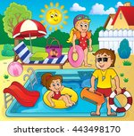 children and life guard by pool ... | Shutterstock .eps vector #443498170