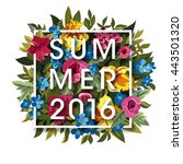 floral summer graphic design... | Shutterstock . vector #443501320