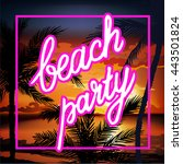 hello summer beach party flyer. | Shutterstock . vector #443501824