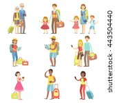 happy tourists with bags and... | Shutterstock .eps vector #443504440