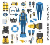 diving set of elements. scuba...