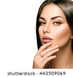 beautiful woman face portrait... | Shutterstock . vector #443509069