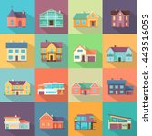 set houses  buildings  and... | Shutterstock .eps vector #443516053