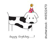 birthday card with cute dog... | Shutterstock .eps vector #443522473
