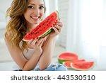 eating watermelon.   Shutterstock . vector #443530510