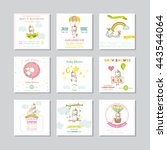 baby shower or arrival card.... | Shutterstock .eps vector #443544064