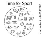 set of sport thin line icons.... | Shutterstock .eps vector #443547508