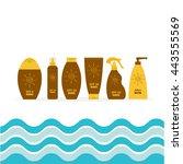 tube of sunscreen suntan oil... | Shutterstock .eps vector #443555569