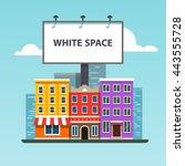large blank urban billboard...   Shutterstock .eps vector #443555728