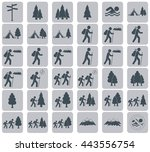 set of hiking tourists icon.... | Shutterstock .eps vector #443556754