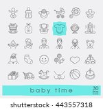 set of line icons for baby care ... | Shutterstock .eps vector #443557318