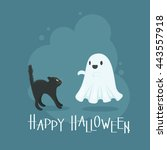happy halloween gift card with... | Shutterstock .eps vector #443557918