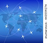 airplanes with airplane stream...   Shutterstock .eps vector #443559274
