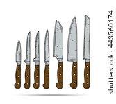 knife set  | Shutterstock .eps vector #443560174