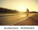 back lit single person on... | Shutterstock . vector #443562463