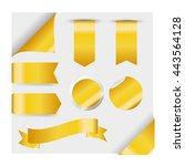 golden ribbons set isolated on... | Shutterstock .eps vector #443564128