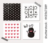 Set Of Cards With Cute Monster...