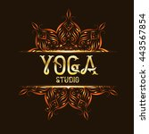 yoga studio emblem logo with... | Shutterstock .eps vector #443567854