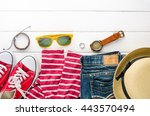 travel clothing accessories... | Shutterstock . vector #443570494