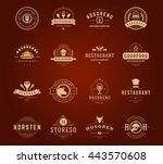 vintage restaurant logos design ... | Shutterstock .eps vector #443570608