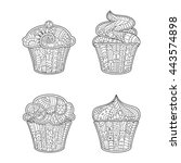 vector cupcake in zentangle... | Shutterstock .eps vector #443574898