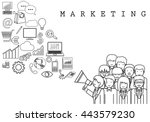 marketing team on white... | Shutterstock .eps vector #443579230