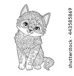 Sitting Kitten In Zentangle...
