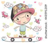 cute cartoon boy with a cap on... | Shutterstock .eps vector #443591209