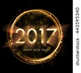 gold new year 2017 card. black... | Shutterstock .eps vector #443595340
