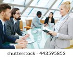 female leader talking to male... | Shutterstock . vector #443595853