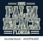 florida palm beach typography ... | Shutterstock .eps vector #443596300