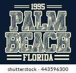 florida palm beach typography ... | Shutterstock .eps vector #443596300
