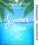 summer time beach party poster. ... | Shutterstock .eps vector #443596963