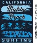 california malibu beach surfing ... | Shutterstock .eps vector #443598448