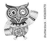 owl doodle vector | Shutterstock .eps vector #443600470