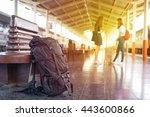 backpack train on railway... | Shutterstock . vector #443600866