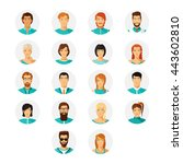 vector human avatar set in... | Shutterstock .eps vector #443602810