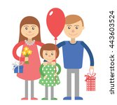 happy family parents with child.... | Shutterstock .eps vector #443603524