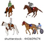 people riding horses... | Shutterstock .eps vector #443609674