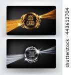 vip gold and silver card with... | Shutterstock .eps vector #443612704