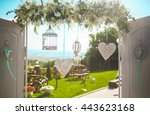happy outdoor wedding ceremony... | Shutterstock . vector #443623168