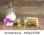 green tea in a transparent mug... | Shutterstock . vector #443625208