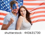 emotional young patriotic... | Shutterstock . vector #443631730