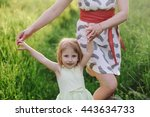 mom and daughter dancing in... | Shutterstock . vector #443634733
