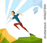 running athlete sprinter sport...   Shutterstock .eps vector #443637304