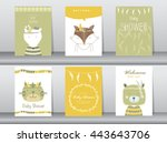 Stock vector set of baby shower invitation cards poster template greeting cards animals cat dog wolf vector 443643706