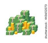 huge money pile. stacked packs... | Shutterstock .eps vector #443652073