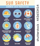 sun and beach safety... | Shutterstock .eps vector #443653414