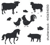 vector farm animals silhouettes ... | Shutterstock .eps vector #443654050