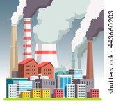 smog polluted urban landscape....   Shutterstock .eps vector #443660203